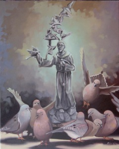 Sculpture-of-St-Francis-with-Pigeons